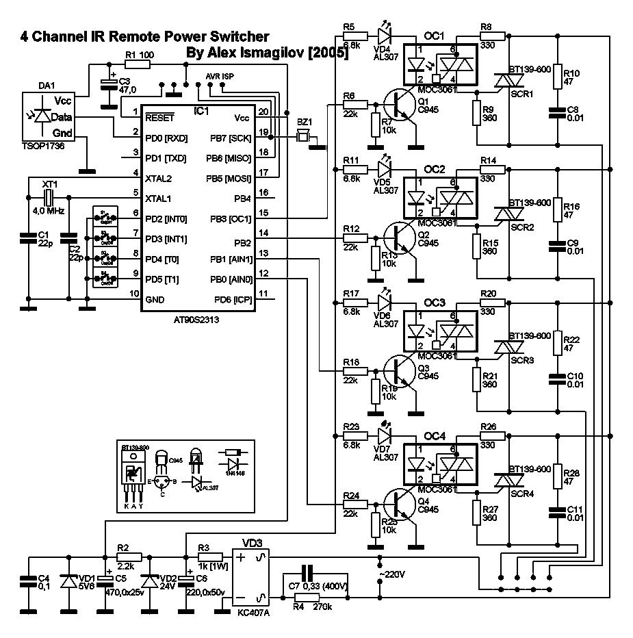Там силовая часть реализована на опторазвязке MOC3061 с тиристором BT-139-600.